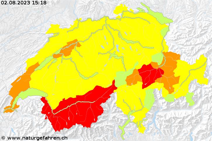 Karte der aktuellen Naturgefahrensituation in der Schweiz