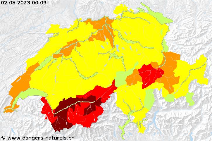 Carte d'alerte - portail sur les risques naturels